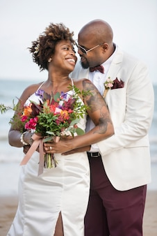 African american couple's wedding day