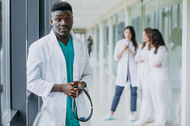 African american doctor man standing in the corridor of the hospital