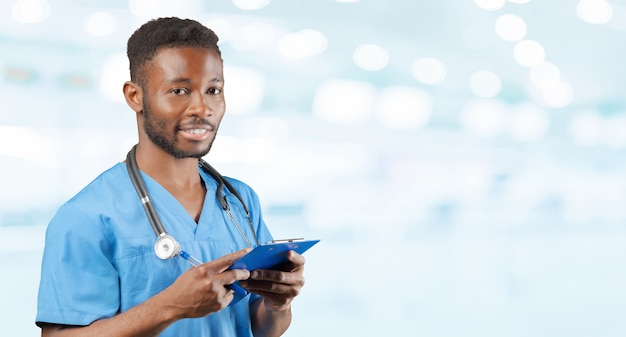African american doctor with a stethoscope standing