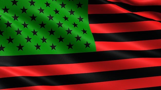 アフリカ系アメリカ人の旗、布のテクスチャを振って