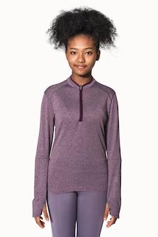 African american girl in purple active stretch jacket studio portrait