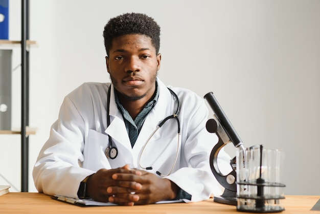 African american male doctor in hospital.