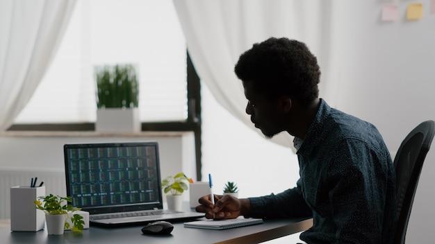 アフリカ系アメリカ人の男性が暗号通貨の株式市場の取引を分析し、株式相場指数をチェックしています