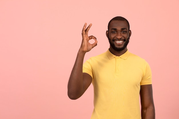 African american man doing the ok sign