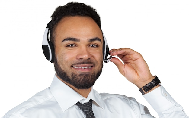 African american man in headsets isolated white