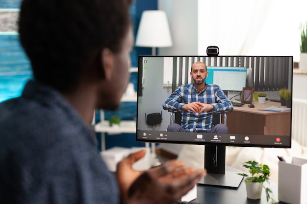 African american man on online video call communication