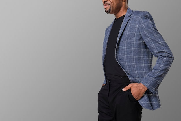 African american man wearing flannel blazer for apparel ad