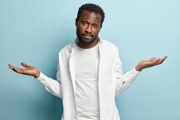 African american man wearing white shirt