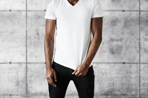African-american man wearing white t-shirt