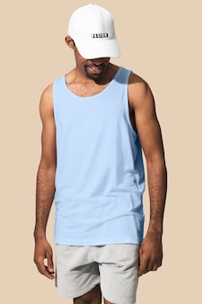 African american man wearing white tank top with white cap