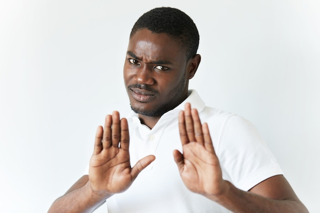 African american man in white t-shirt