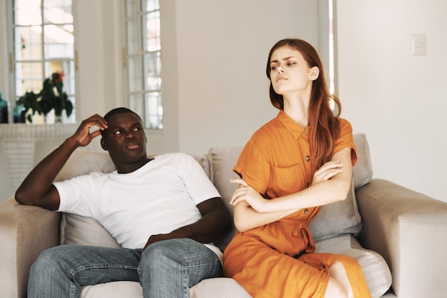 African american man and white woman couple ,family quarrel