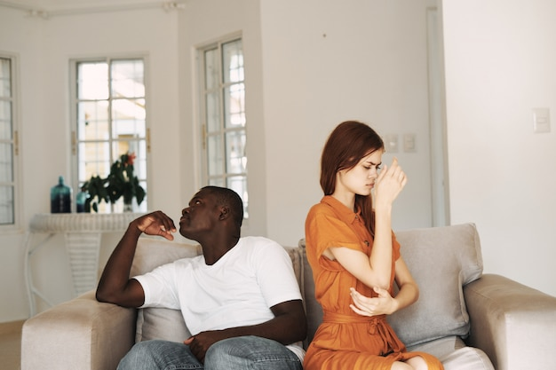 African american man and white woman couple , family quarrel