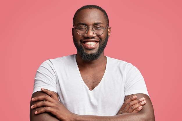 African-american man with round glasses