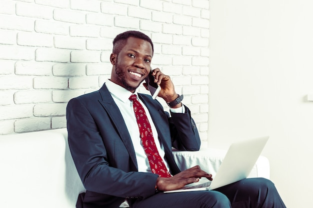 African american man with smartphone