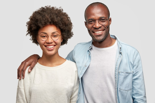 African american man and woman posing