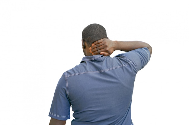 African american men with neck pain