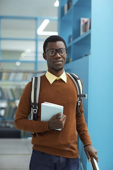 African-american student in library