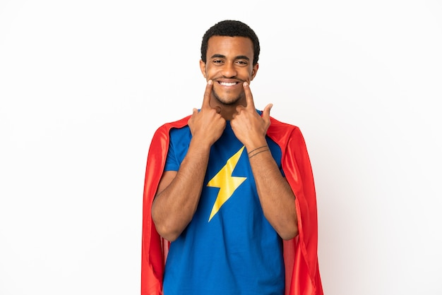 African american super hero man over isolated white background smiling with a happy and pleasant expression