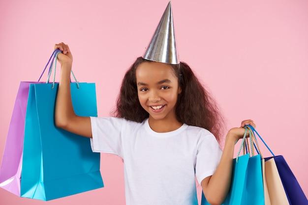 African american teen girl in festive hat