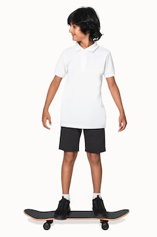African american teenager in white polo t-shirt youth apparel shoot