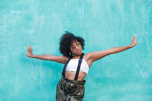 African american woman feeling free