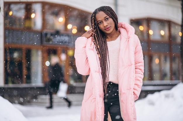 African american woman model outside