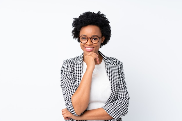 African american woman over white wall