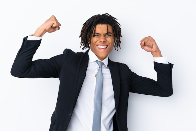 African american young business man over white wall