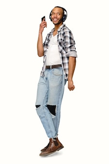 African-american young man wearing casual shirt over white background