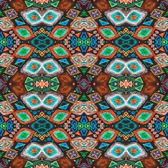 アフリカのアートデッサン。シームレスなアステカ柄。レトロなフォークデザイン。部族の装飾的なプリント。部族の民俗飾り。