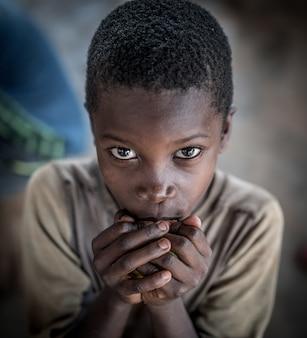 African boys in village portrait