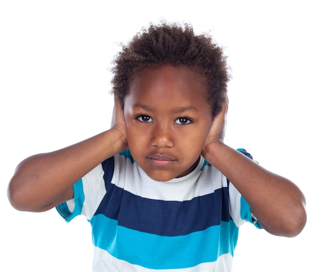 African child covering his ears