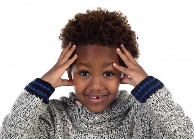 African child covering his head