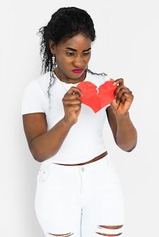 African descent woman break up concept