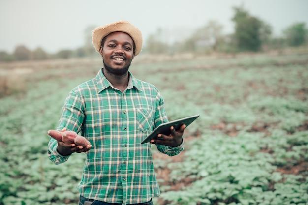 Африканский фермер мужчина держит свежий сладкий картофель на органической ферме с помощью планшета. сельское хозяйство или концепция выращивания