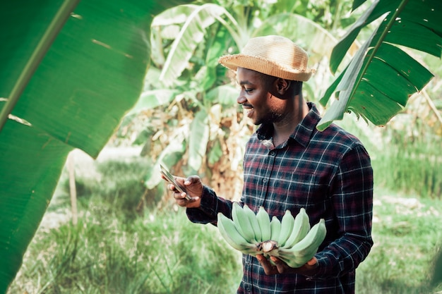 笑顔と幸せで有機農場でスマートフォンとバナナを保持しているアフリカの農夫男。農業や栽培のコンセプト