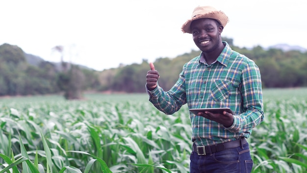 Африканский фермер стоит на зеленой ферме