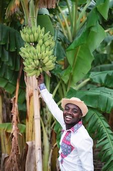 有機農場でバナナの木と立っているアフリカの農夫男。農業や栽培のコンセプト