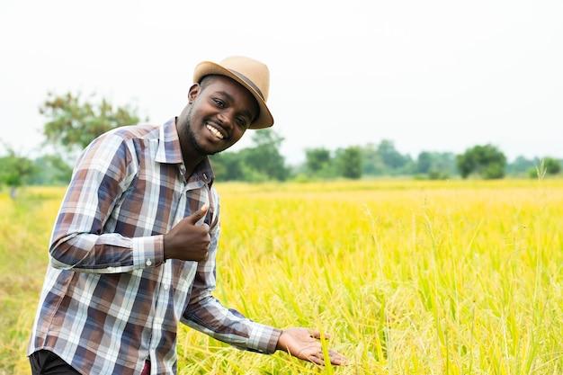 笑顔と幸せで有機田んぼに立っているアフリカの農民。農業または栽培の概念