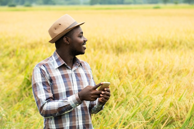 笑顔と幸せで有機田んぼでスマートフォンを使用しているアフリカの農家。農業または栽培の概念