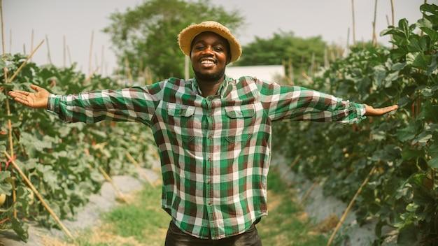 帽子をかぶったアフリカの農民は、有機農園の分野に立っています。農業または栽培の概念
