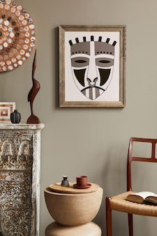 African interior of living room with mock up poster frame in stylish home decor template