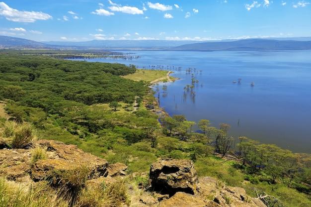 アフリカの風景、ケニアのナクル湖の鳥瞰図