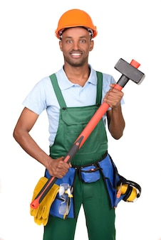 African male worker carrying toolbox