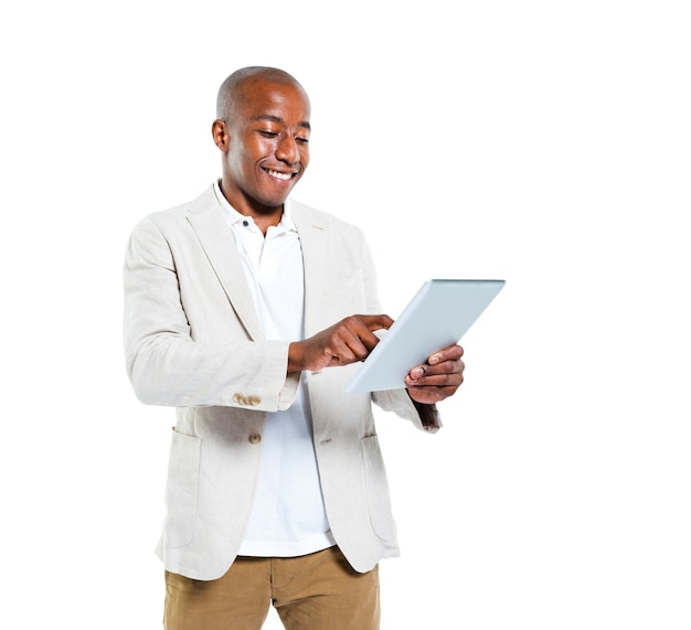 African man holding an ipad