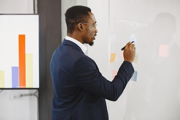 黒のスーツを着たアフリカ人。ガラスに書いている男。