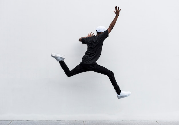 African man jumping