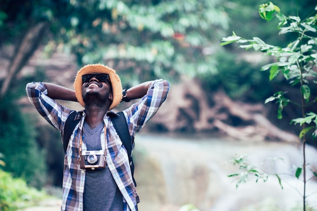 African man traveller filling happy and freedom