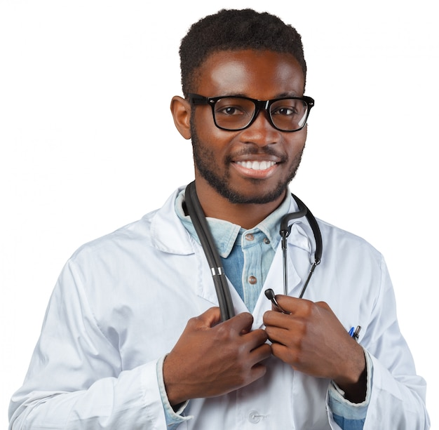 African medical doctor man isolated on white background